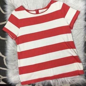 LOFT stripe knit short sleeve top size Large